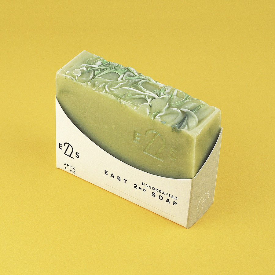 Soap package design 01 for East 2nd Soap, designed by RXVP