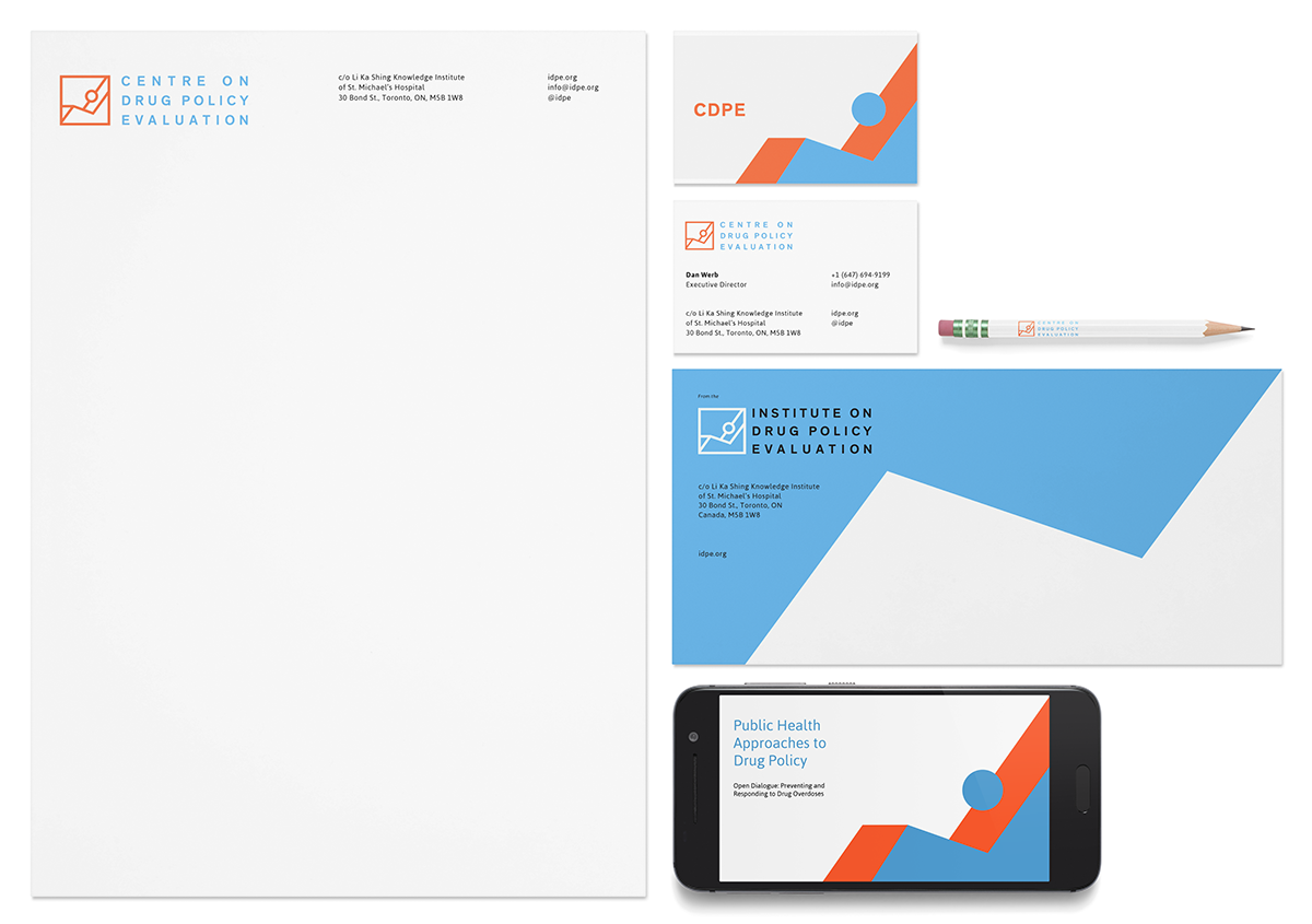 Stationary design for the Centre on Drug Policy Evaluation, designed by RXVP