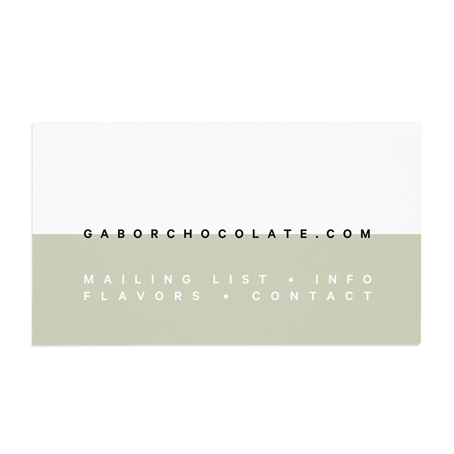 Business card design for Gabor Chocolate, designed by RXVP